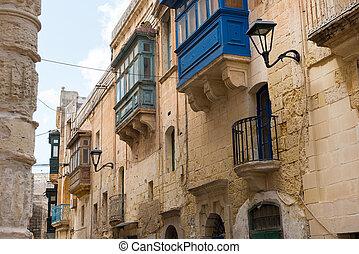 traditionele , geverfde, balkons, malta, mosta, maltees