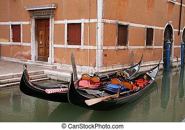 traditionele , gondola, venetie, -, italië