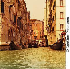 traditionele , gondola, venetie, rijden