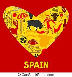 traditionele , heart., symbolen, vorm, voorwerpen, achtergrond, spaanse , spanje