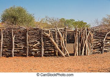 traditionele , himba, hutten, mensen