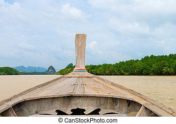 traditionele , houten boot, tegen, tropische , achtergrond