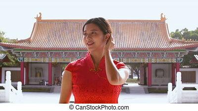 traditionele , jonge vrouw , oud, chinees, jurken, tempel,...