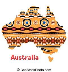 traditionele , kaart, australië, illustratie, ornament.