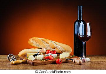 traditionele , kaas, diner, wijntje