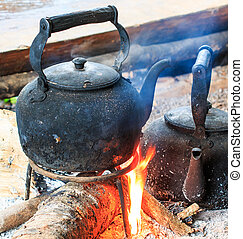 traditionele , koffie, antieke , koffiekan, crema, op, doi, inthanon, nati