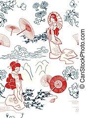 traditionele , model, japanner, illustratie, oruental, vector, achtergrond