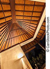 traditionele , moderne, hotel, dak, versiering, ontwerp, nacht