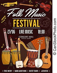 traditionele , muziek instrumenten, straatfeest, folk-music