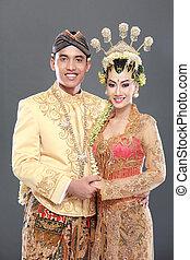 traditionele , paar, java, trouwfeest