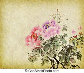 traditionele , painting., wassen, chinees, bloem, inkt, peony