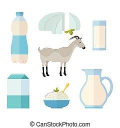 traditionele , producten, set, melkinrichting, melk
