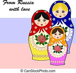 traditionele , russische , matryoschka, dol