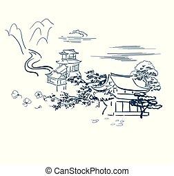traditionele , schets, japanner, symbolen, vector, beweegreden, tempel, kaart