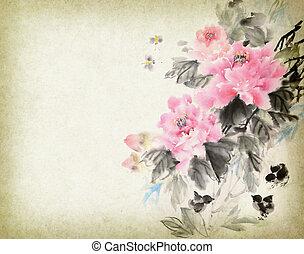 traditionele , schilderij, wassen, drawing., chinees, bloem, inkt, peony