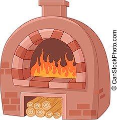 traditionele , spotprent, oven
