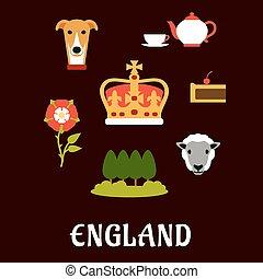 traditionele , symbolen, engeland, plat, iconen