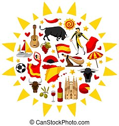 traditionele , symbolen, vorm, voorwerpen, sun., achtergrond, spaanse , spanje