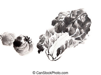 traditionele , wassen, schilderij, chinees, inkt