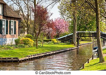 traditionele, woning, hollandse