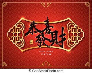 traditionell, önska, välstånd, kinesisk, dig, ord