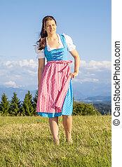 traditionell, bayersk, kvinna, dirndl