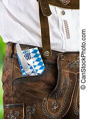 traditionell, bayersk, man, bestick, lederhosen