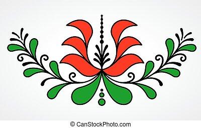 traditionell, blommig, motiv, ungerska