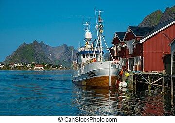 traditionell, by, fiske, reine, norge, båt