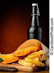 traditionell, fisk och chipser, och, öl