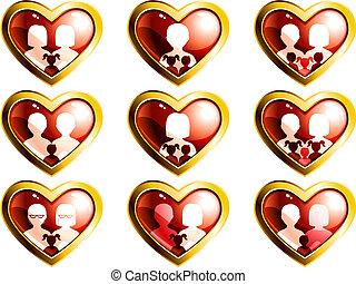 traditionell, hjärta gestaltade, knäppas, non, familjen