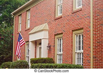 traditionell, hus, flagga, tegelsten, amerikan