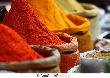 traditionell, india., marknaden, kryddor