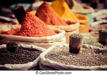 traditionell, Indien, marknaden, Kryddor