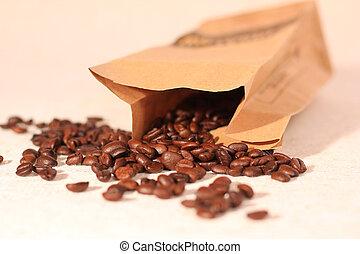 traditionell, kaffe, säck, vävnad, väska, papper, bönor, översvämmande