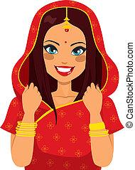 traditionell, kvinna, indisk