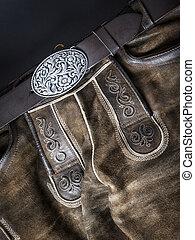 traditionell, läder, bayersk, byxor