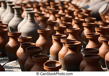traditionell, lergods, hantverk