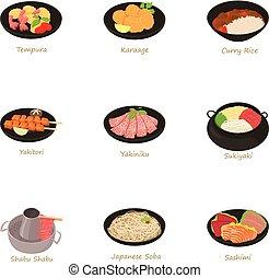 traditionell, mat ikon, sätta, tecknad film, stil