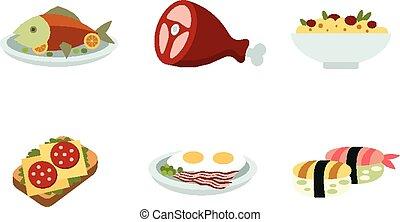 traditionell, mat, sätta, ikonen