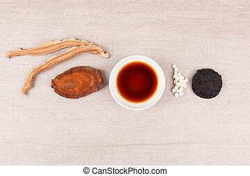 traditionell medicin, kinesisk, bakgrund.