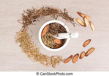traditionell medicin, mortar., bakgrund, kinesisk