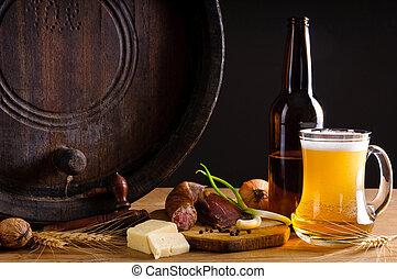 traditionell, middag, och, öl