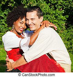 traditionell, par, klänning, bayersk