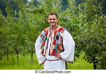 traditionell, romanian, dräkt, bonde