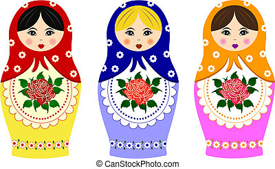 traditionell, rysk, matryoshka