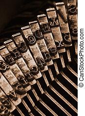 traditionell, skrivmaskin, boktryck, vapen