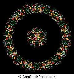 traditionell, stil, eller, mexikanare, broderi, stad, fåglar, tenango, mexico., bakgrund, isolerat, komposition, vävnad, hidalgo, svart, påfågel, blommig, mandala, färgrik, ram, cirkulär