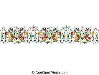 traditionell, stil, eller, mexikanare, påfågel, stad, fåglar, tenango, mexico., bakgrund, isolerat, seamless, vävnad, hidalgo, mall, blommig, komposition, vit, färgrik, ram, broderi