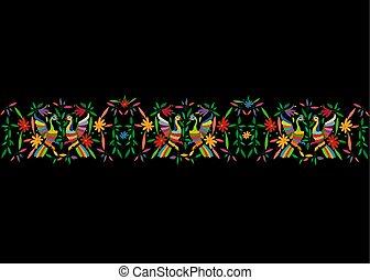 traditionell, stil, eller, mexikanare, påfågel, stad, fåglar, tenango, mexico., bakgrund, isolerat, seamless, vävnad, hidalgo, svart, mall, blommig, komposition, färgrik, ram, broderi